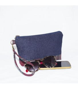 Kellie Wristlet, Denim / Red Plaid