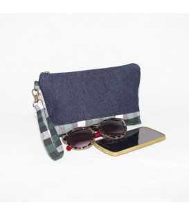 Kellie Wristlet, Denim / Green Plaid