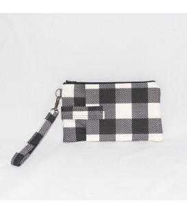 Phone Wristlet, Black Plaid