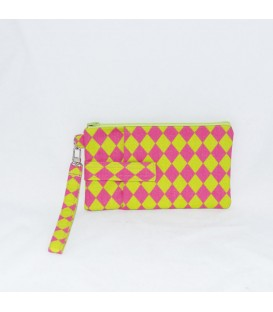 Phone Wristlet, Lime / Pink Diamonds