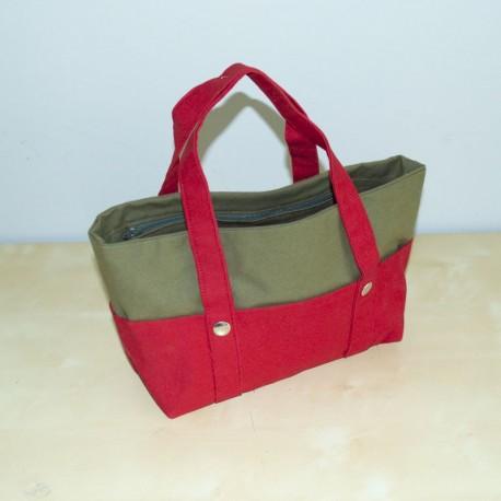 Mini Nautic Tote, Red / Olive