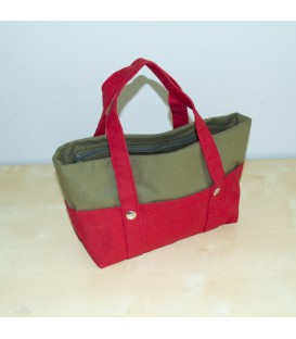Mini Nautic Tote, Red / Olive