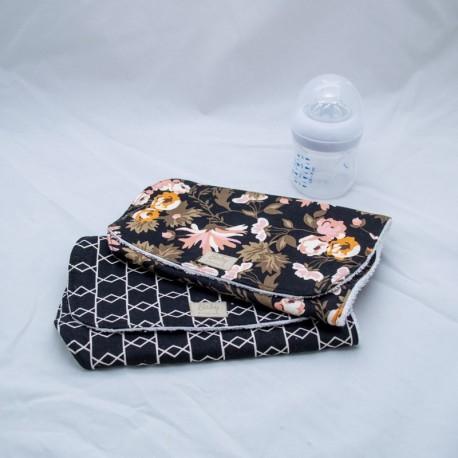Burp cloth, Black Modern Floral (set of 2)