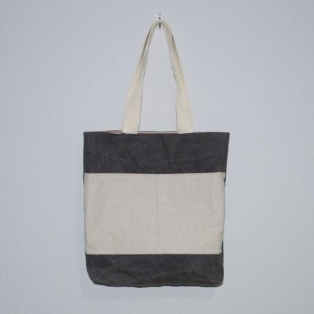 Waxed Canvas Tote, Tan Linen Pocket