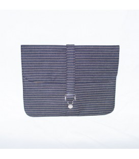 Jillian Tablet Case, Denim Gold Stripe