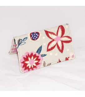 Card Case, Floral on Grey