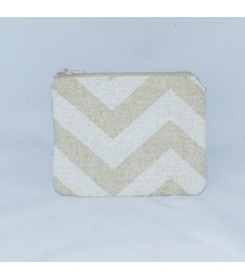 Coin Purse, Tan Linen Chevron