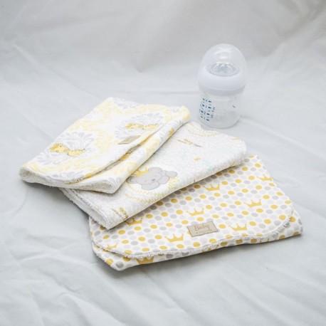 Burp Cloth Set, Crowned (Set of 3)