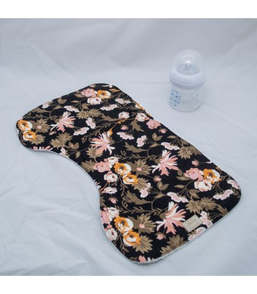 Burp cloth, Black Modern Floral (set of 2)