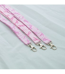 Lanyard, Pink Ribbon Gingham