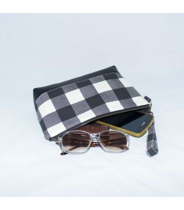 Kellie Wristlet, Gingham Black