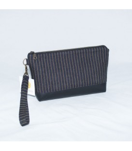 Kellie Wristlet, Denim Gold Stripe